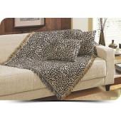 Manta Decorativa para Sofá Safari Onça Jacquard 150x100cm Omartex Algodão