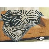 Manta Decorativa para Sofá Safari Zebra Jacquard 150x100cm Omartex Algodão