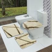 Jogo de Tapete De Banheiro Fina Arte Riscas Palha 3 peças Jolitex
