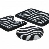 Jogo de Tapete De Banheiro Fina Arte Zebra Preto e Branco 3 peças Jolitex