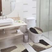 Jogo de Tapete De Banheiro Riviera Lados Castor 3 peças Jolitex
