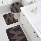 Jogo de Tapete De Banheiro Riviera Eletro Savana e Caramelo 3 peças Jolitex