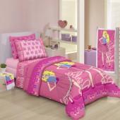 Jogo de Cama Duplo Solteiro 3pçs Estampado Barbie Sweet Santista
