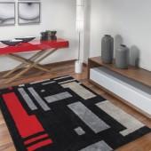 Tapete Fina Arte Labirinto Preto Cinza e Vermelho 200x250cm Jolitex
