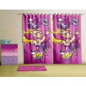Cortina com Alça Infantil Barbie Super Princesa 1,50x2,20m 2pçs Lepper